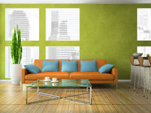Part of the modern living-room. In green colour 3D rendering Stock Images