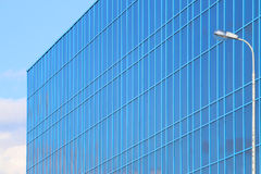 Part of modern new blue building with windows Stock Images