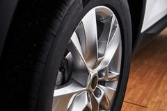 Part of modern new wheel car with disk brake pad Stock Photos