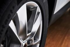 Part of modern new wheel car with disk brake pad Stock Photography