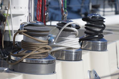 Part of a modern sailboat. Royalty Free Stock Photos
