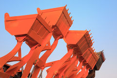 Part of modern yellow excavator machines,the buckets/shovels rai Royalty Free Stock Photography