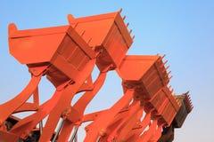 Part of modern yellow excavator machines,the buckets/shovels rai Royalty Free Stock Photography