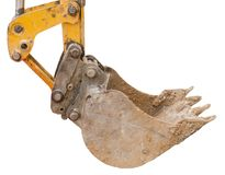 Part of modern yellow excavator machines isolated on white. Background Stock Photo
