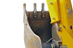 Yellow excavator machines. Part of modern yellow excavator machines isolated on white Stock Image