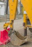 Yellow excavator machines. Part of modern yellow excavator machines Royalty Free Stock Photos