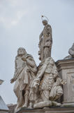 Part of monument in main square in Sopron, Hungary. Architecture and buildings of Sopron town in Hungary Stock Photo