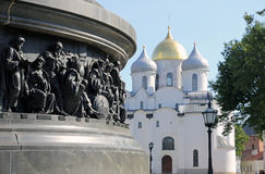 Part of the monument to the Millennium of Russia against the background of the St. Sophia Cathedral in the Kremlin in Veliky Novgo. Rod Stock Photos