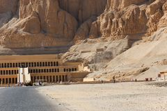 The Mortuary temple of the Queen Hatshepsut Luxor, Egypt. Part of the Mortuary temple of the Queen Hatshepsut Dayr el-Bahari or Dayr el-Bahri, Western Bank of royalty free stock photos