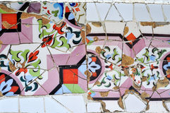 Part of mosaic in Guell park in Barcelona Royalty Free Stock Photography