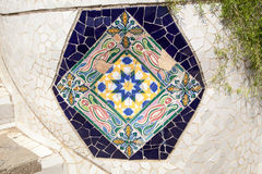 Part of mosaic in Guell park in Barcelona Stock Photo