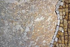 Part of the mosaic on the wall. Mosaic on the right side of the stone wall Royalty Free Stock Photography
