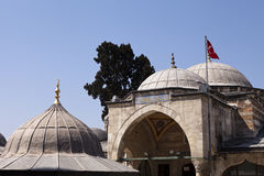 A part of mosque and Turkish flag Stock Images