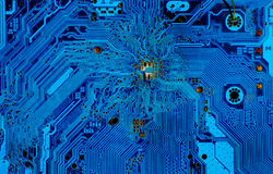 Part of the motherboard in blue Stock Image