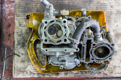 Part of a motorcycle engine in repair of the damage Stock Images
