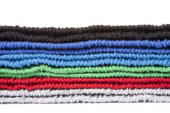 Part of multicolored knitted clothes pile Royalty Free Stock Photo