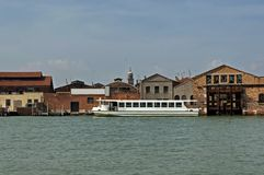 Part of Murano island view from one boat Stock Photography
