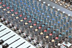 The part of Musical amplifier Sound amplifier or Music mixer with Knobs and Jack holes Stock Photos