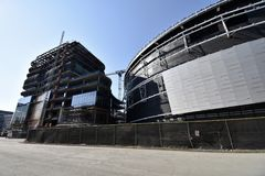 The continuing Golden State Warriors new stadium under construction, 6. A part of the National Basketball Association, the Golden State Warriors have been a royalty free stock images