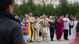 Part of a national Yakut festive round dance Stock Photography