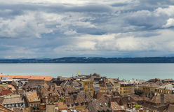 Part of Neuchatel. Beautiful view on lake Neuchatel with beautiful sky scape and part of city of Neuchatel. Canton Neuchatel, Switzerland Stock Photo