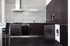 Part Of Black Hardwood Kitchen Stock Photos