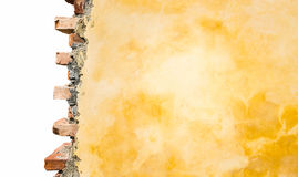 Part Of Brick House Wall Isolated On White. Stock Photography