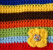 Part Of Colorful Knitted Wool With Knitted Flower Royalty Free Stock Images