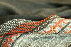 Part Of Knitted Wool, Color Ornament Stock Photos