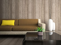 Part Of Modern Interior With Yellow Pillow Royalty Free Stock Photos
