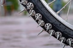 Free Part Of The Bicycle Wheel Covered With Large Metal Spikes Royalty Free Stock Photography - 127219187