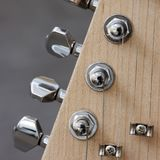 Body of electric guitar with snares and pickups. Part ofelectric guitar with snares and tuning pegs Stock Photo