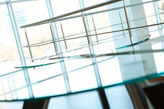 Part of office. Image of banisters and windows in office building Stock Photography