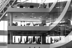 Part of the office building in black and white. stock image