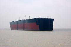 Part of oil tanker. Hull of an oil tanker under repair Stock Photos