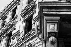 Part of the old abandoned classical building black and white photo. Part of the old abandoned classical building black and white Royalty Free Stock Photos