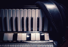 Part of an Old Accordion. Details of an old accordion, closeup view stock image