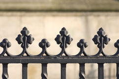 Part of an old black fence - close-up Stock Photography