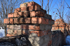 Part of an old brick wall that began to break down Royalty Free Stock Photography