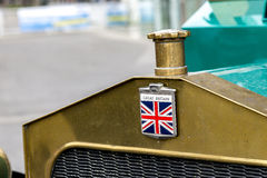 Part of old British lorry with Great Britain`s flag - the Union Jack. Part of old British lorry with Great Britain`s flag, the Union Jack - symbol of traditional Stock Photos