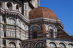 Part of an old church in Florence. Part of the old church and dome in Florence Royalty Free Stock Image