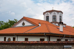 Part of the old church tower in Plovdiv city, Bulgaria Royalty Free Stock Images