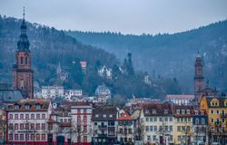 Old city of Heidelberg in winter royalty free stock photography