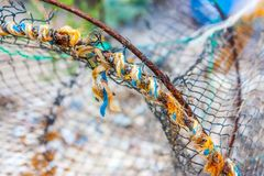 Part of old fishing net. Part of old colorful fishing net stock image