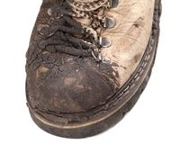 Part of old dirty hiking boot Royalty Free Stock Images