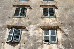 Part of an old facade the ancient european house Royalty Free Stock Images