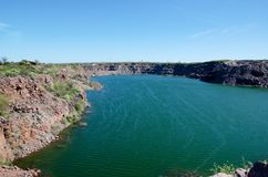 Lake on the site of an old quarry Royalty Free Stock Photos