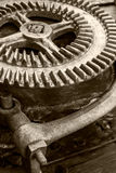 Part of old industrial mechanism. large rusty gearwheel. Royalty Free Stock Photos