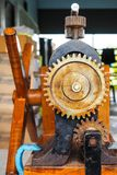 Part of the machine the gear is a component. Part of the old machine the gear is a component Royalty Free Stock Photo