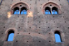Part of an old medieval building in Bologna (Italy) Royalty Free Stock Photo